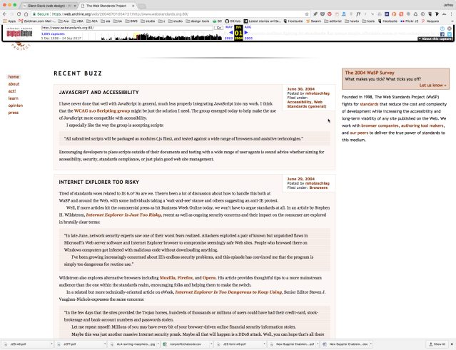 The Web Standards Project – a liquid layout as seen on a wide computer screen.