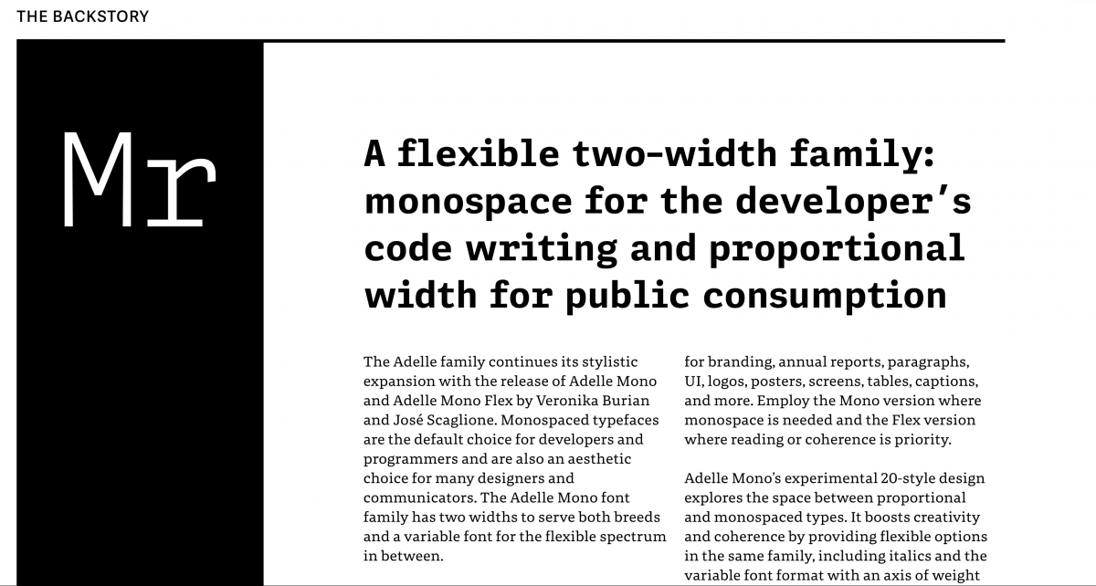 Screen shot, Adelle Mono display page from TypeTogether's website.