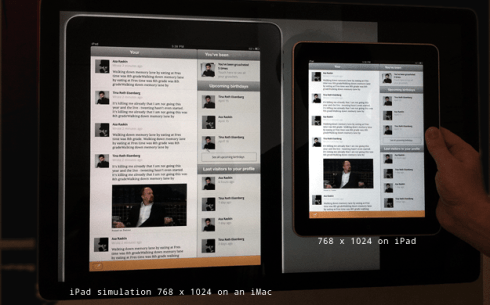 Comparison of iMac and iPad screens at informationarchitects.jp.
