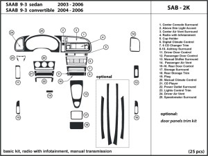 Dash Kit for Saab 93 20032006 radio with infotainment