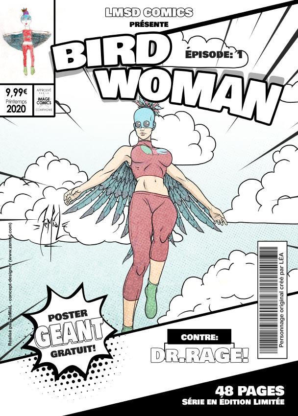 Illustration façon comics du personnage original Bird Woman