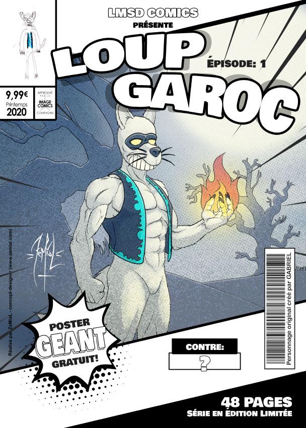 Illustration façon comics du personnage original LoupGaroc