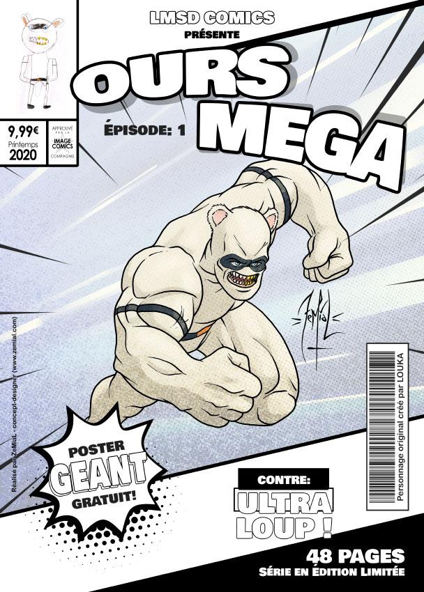 Illustration façon comics du personnage original Ours Mega