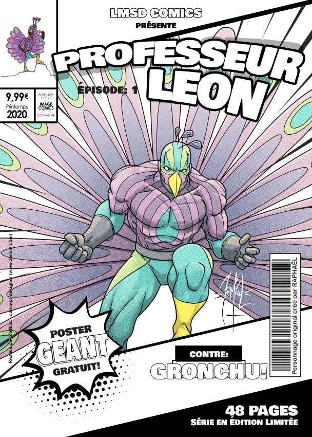 Illustration façon comics du personnage original Professeur Leon