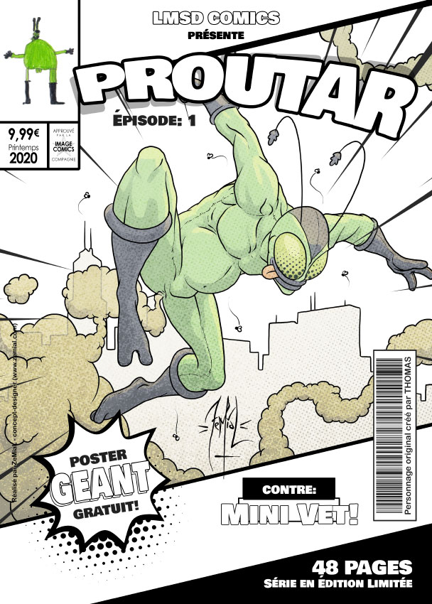 Illustration façon comics du personnage original Proutar
