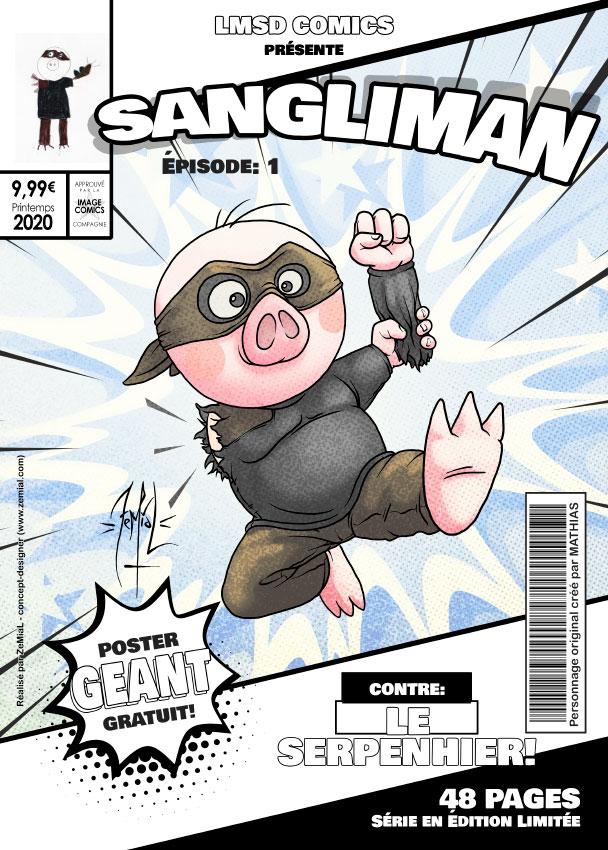 Illustration façon comics du personnage original Sangliman
