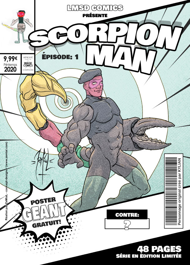 Illustration façon comics du personnage original Scorpionman