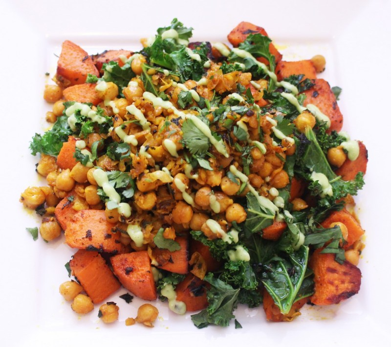 sweet potato hash with chickpeas and kale