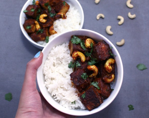 Sticky Red Curry Tofu with Cashews (Vegan, GF)