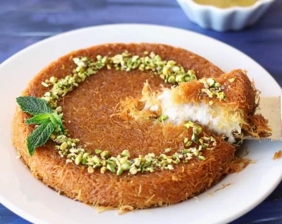 Vegan Kunafa (Knafeh) | Shredded Phyllo and Sweet Cheese Dessert
