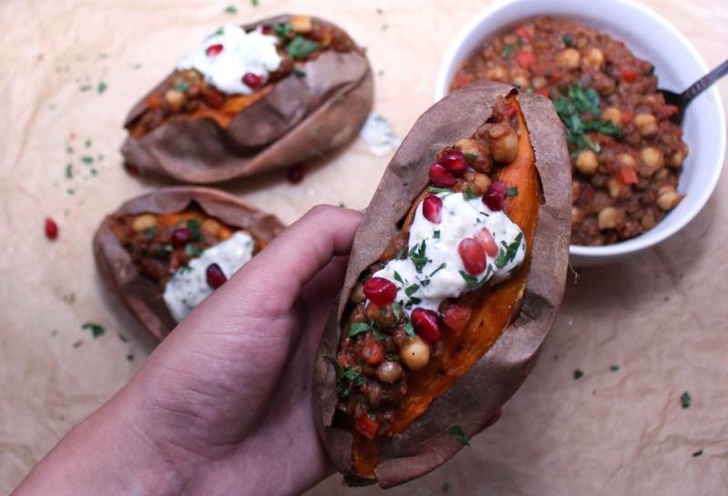 mediterranean vegan vegetarian chili stuffed sweet potatoes chickpea lentil tzatziki gluten free roasted zenanzaatar food blog recipe