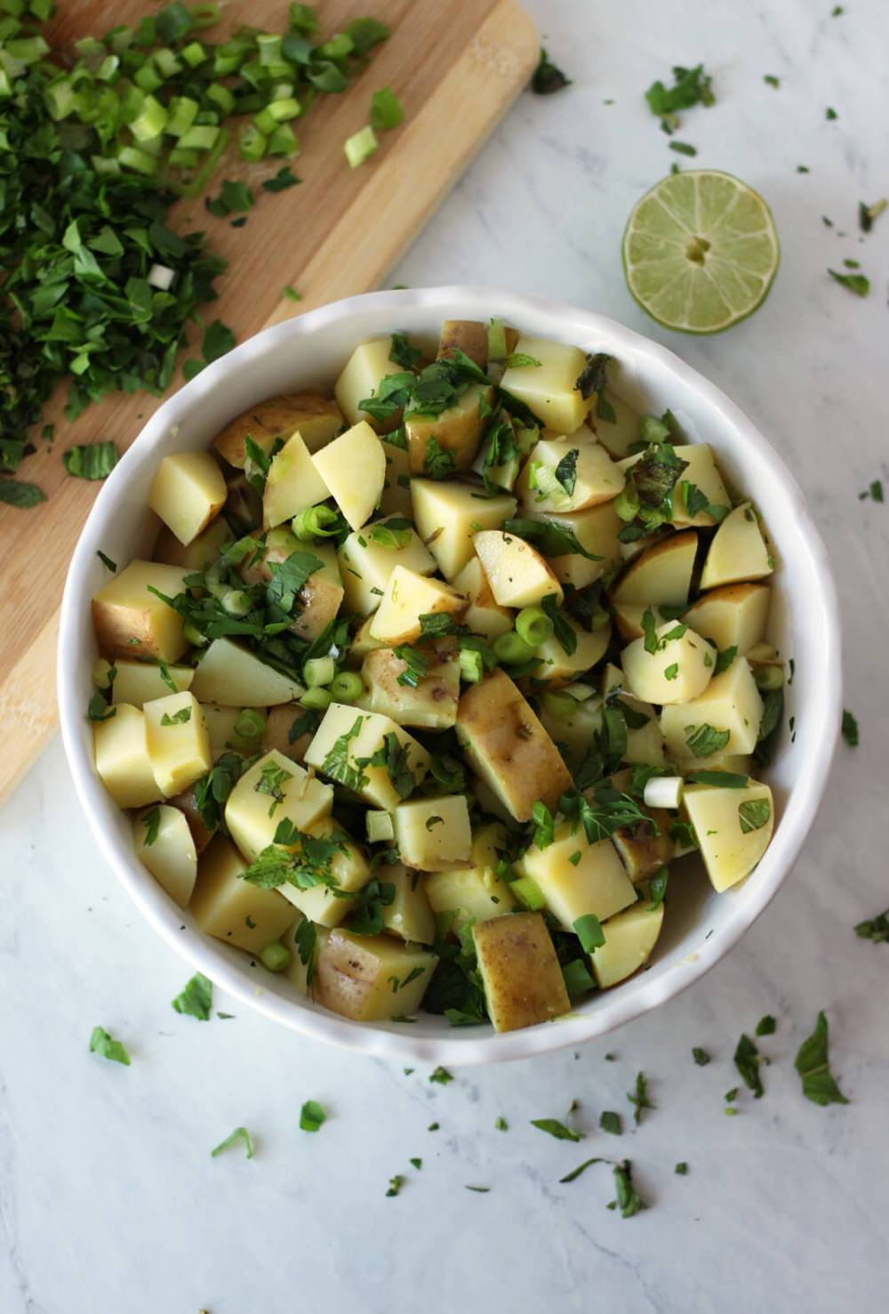 light mediterranean potato salad syrian lebanese healthy vegan gluten free vegetarian arabic recipe food blog zenanzaatar