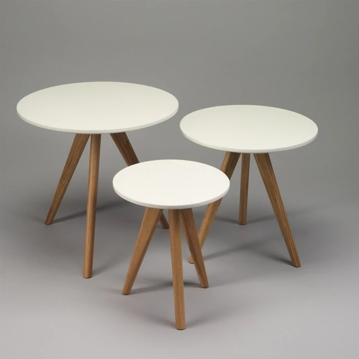 lot de 3 tables basses a pieds compas diam 48 40 30 par selection zendart