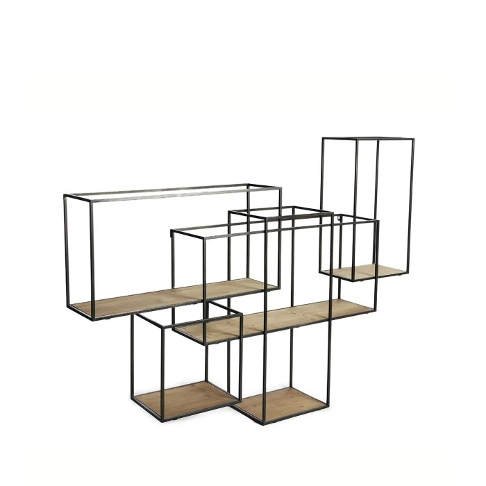 etagere murale destructuree en metal et bois 155 x 111 cm celine zendart selection