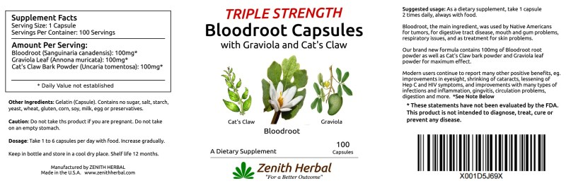 Triple Strength Bloodroot Capsules