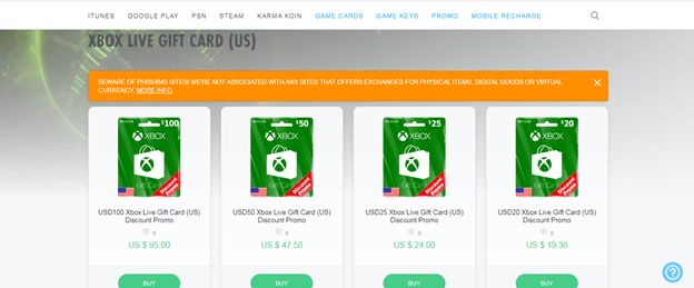 Off Gamers for xbox gift card