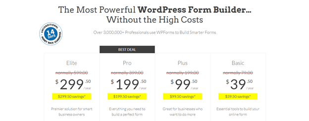 WPForms Pro Pricing