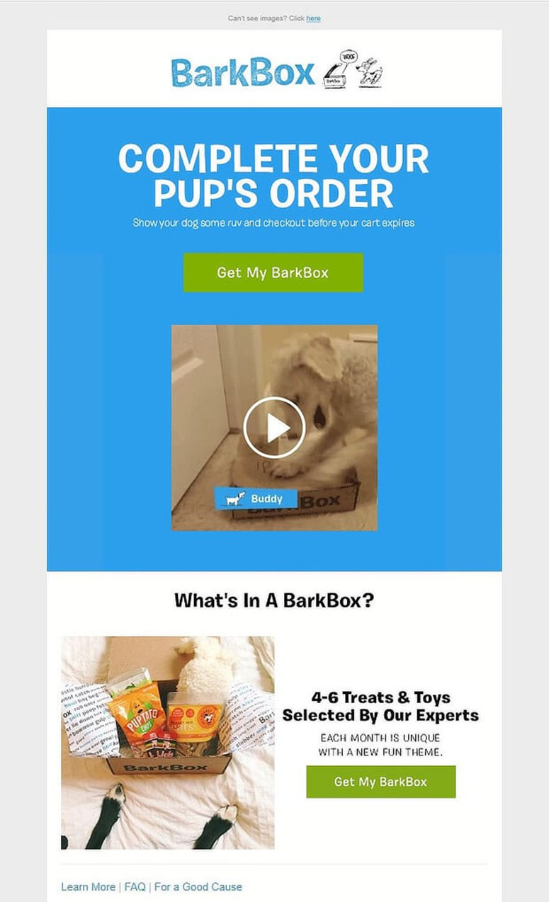 BarkBox Abandonment Cart Emails Templates