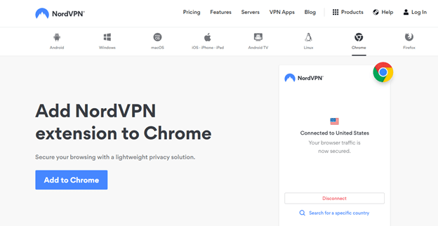 Nord VPN Extension for Chrome Browser