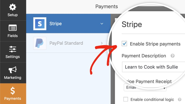 Enable stripe Payment on WPforms