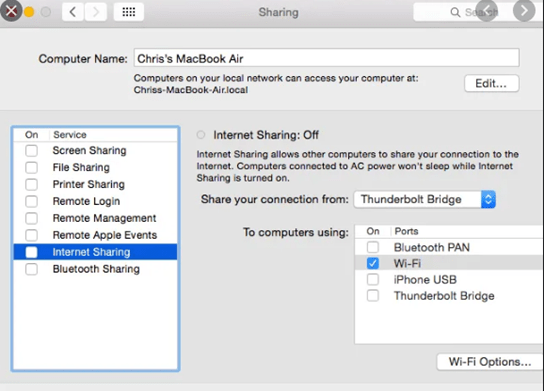 enable internet sharing between Mac and Xbox
