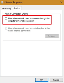 connect through this computer's Internet connection