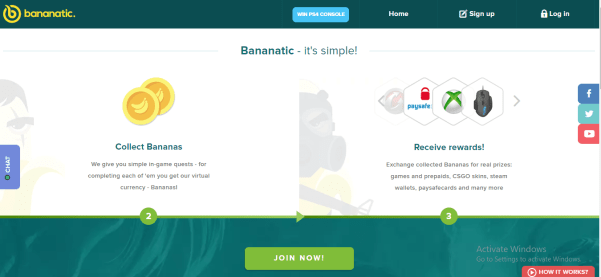 Earn gift cards with Bananatics