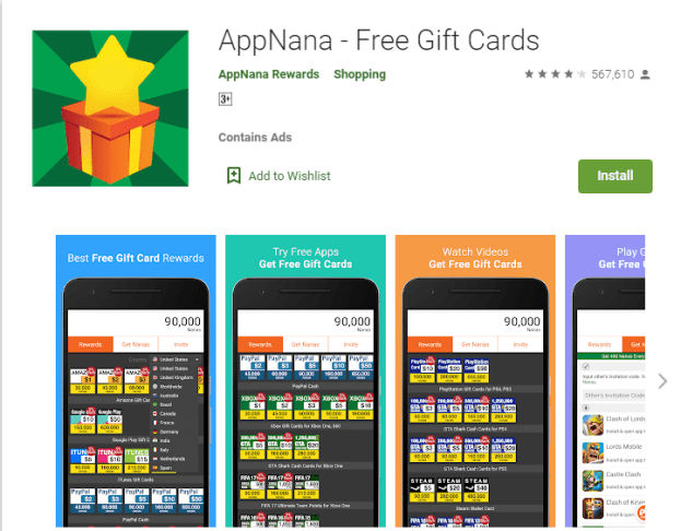 Download APPNANA for free gift cards