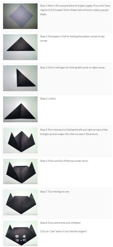 Origami Cat Procedure Text Steps