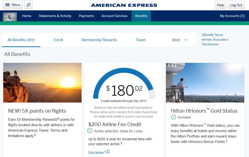 American Express Airline Fee Credit | Credit Card Travel Benefits | American Express Platinum Benefits | American Express Premiere Rewards Gold Benefits