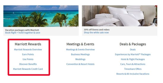 Marriott Travel Package Points