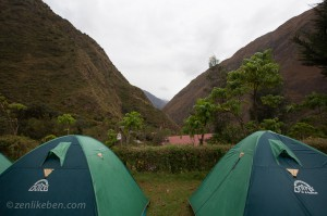 Inca Trail - View from our tent at Wayllabamba camp