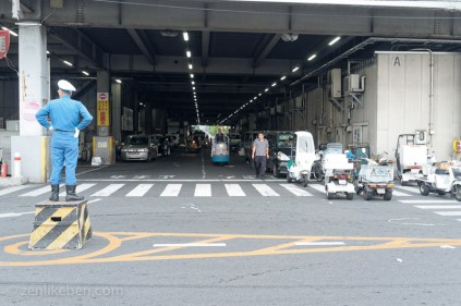 Traffic guard at the Tokyo Fish Market