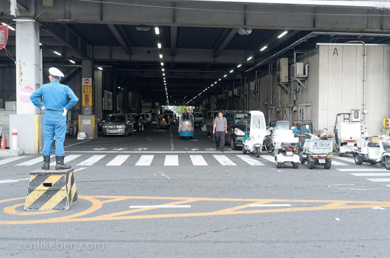 Traffic guard at the Tokyo Fish Market