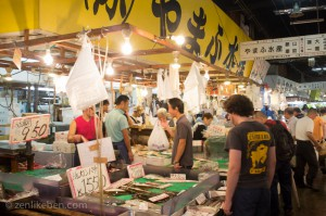Looking at some fun things at the Tsukiji Fish Market