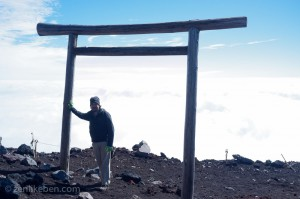 At the top of Mount Fuji