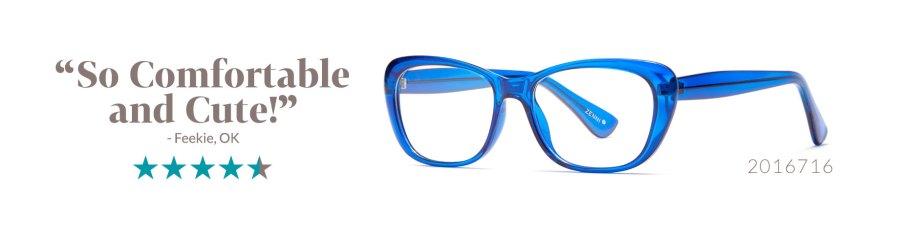 trendy blue glasses