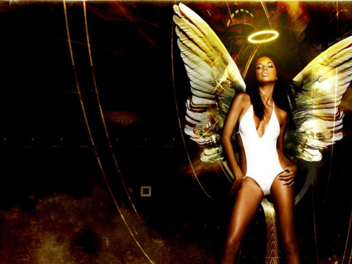 Model dressed as an angel with a halo   Zenni Optical