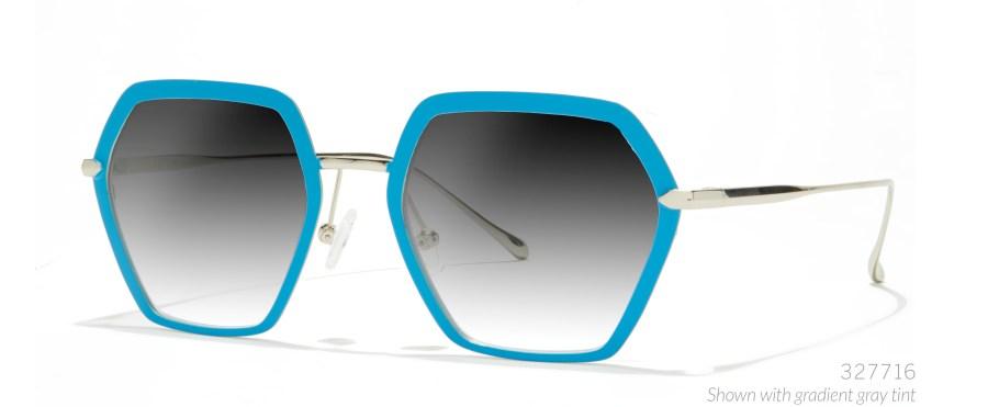 blue-angular hexagon sunglasses for edc
