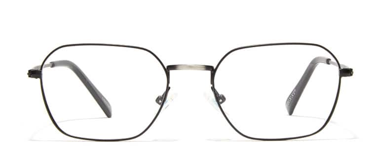 fe062d7edc Black metal geometric glasses  169321 with brushed silver temple arms.