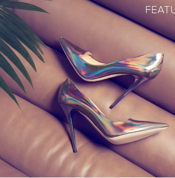 gümüş yanar döner stiletto ayakkabı