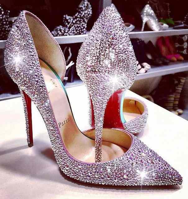 parlak taşlı stiletto ayakkabı