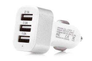 JL-280-1 12 – 24V 3 USB Port Car Charger  –  COLORMIX