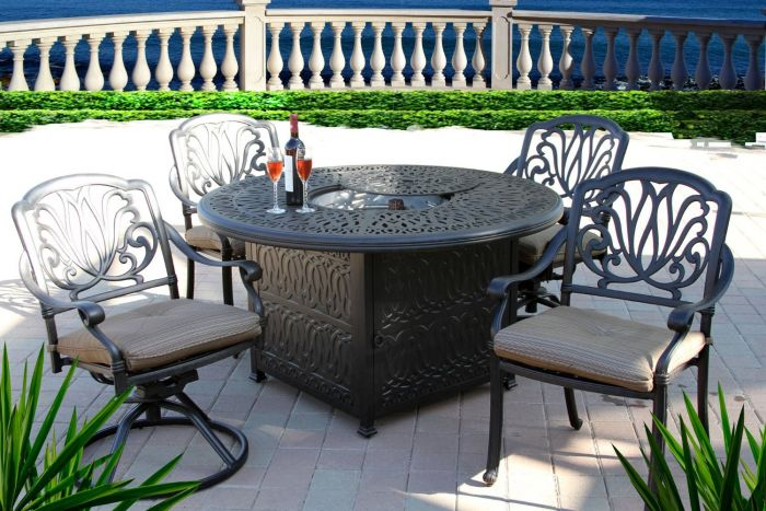 elisabeth 5pc outdoor dining set 52 inch round fire pit dining table