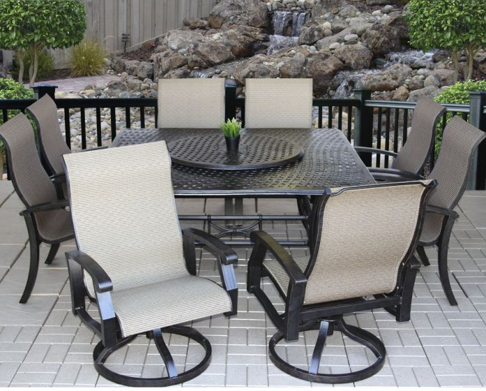 heritage outdoor living barbados sling outdoor patio 9pc dining set with series 5000 64 square table