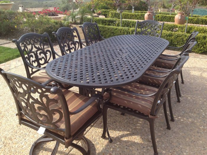 flamingo cast aluminum 9pc outdoor patio dining set with 42x102 oval table series 3000 antique bronze
