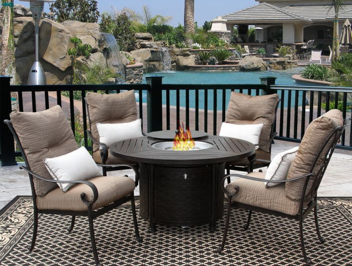 tortuga outdoor patio 5pc dining set for 4 person with round fire table
