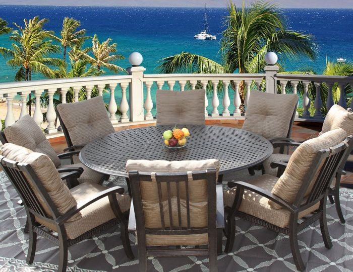 barbados cushion outdoor patio 9pc dining set for 8 person with 71 round series 5000 table