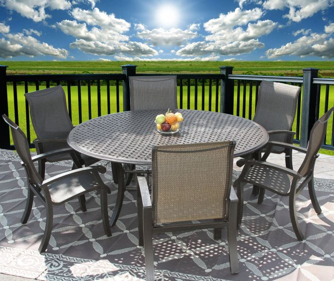barbados sling outdoor patio 7pc dining set for 6 person with 71 round table series 5000