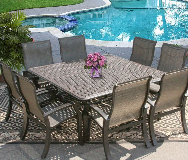 barbados sling outdoor patio 9pc dining set for 8 person with 64x64 square series 5000 table antique bronze finish